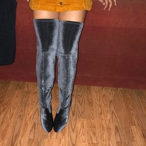 Just fab tall over the knee grey velvet boots 9